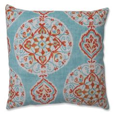 @Overstock.com - Pillow Perfect Mirage Medallion Capri 16.5-inch Throw Pillow - Beautify your living room with this designer throw pillow from Pillow Perfect. The rust and blue color scheme offer a delightful visual addition to your neutral color scheme, and the cover fabric's polyester-cotton blend holds up well to everyday use.  http://www.overstock.com/Home-Garden/Pillow-Perfect-Mirage-Medallion-Capri-16.5-inch-Throw-Pillow/8162106/product.html?CID=214117 $33.49