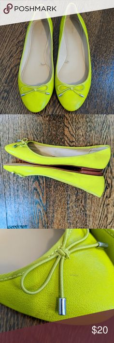 Zara flats size 8 lime green with cute bow Cute and comfortable Zara flats these are a size(39) but fit like a size 8. Fun lime green color! In gently used condition there is a small scuff one one of the shoes(pictured).  Offers always welcome!  Bundle to save on shipping!  I ship by Noon next day :)  I am happy to answer any questions ;)  Thank you for stopping by my closet, please come back soon ❤️ Zara Shoes Flats & Loafers