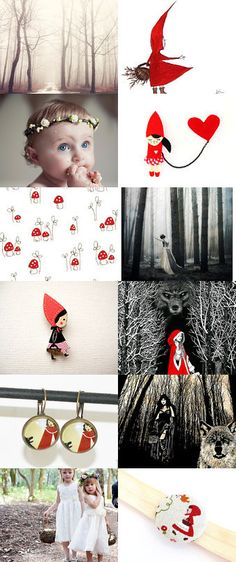 Les boucles d'oreilles petit chaperon rouge. Riding Hood  by Tanya on Etsy--Pinned with TreasuryPin.com