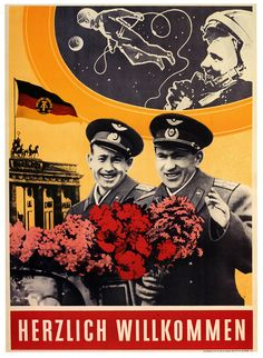 East German (GDR) poster welcoming two cosmonauts of Voshod-2 to GDR (1961)