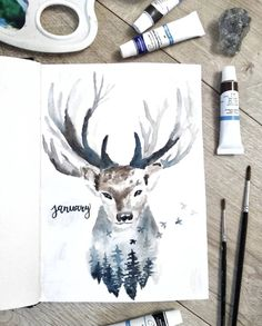 Monthly Bullet Journal Layout, January Bullet Journal, Bujo, Watermelon Drawing, Hot Chocolate Coffee, Harry Potter Aesthetic, Paper Snowflakes, Oh Deer, Pen Sets