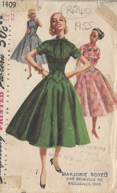 1955 Vintage Sewing Pattern B29 DRESS R240 Simplicity by tvpstore