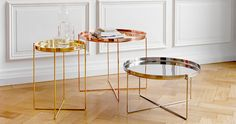 Habibi Table designed by Philipp Mainzer - The Habibi tray table is available in polished brass, copper and stainless steel. Each table is entirely unique and is spun and polished by hand. Coffee Table 2019, Coffee Table Tray, Tray Tables, Design Furniture, Table Furniture, Modern Furniture, Gold Furniture, My Living Room, Home And Living
