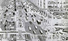 From Popular Science Monthly (August, 1925): An infographic depicting a 1950s world - cars underground, pedestrianised streets and playgrounds on top of buildings.