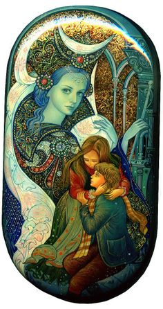 The Snow Queen, by Vera Smirnova, Palekh, 2011 -- The image of the Snow Princess is shown looming above the children Gerda and Kay in this magnificent miniature by Palekh artist Vera Smirnova
