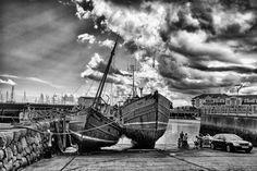 2 lovely old boats at the Harbour, Carrickfergus Old Boats, My Images, Black And White, Building, Places, Photography, Travel, Blanco Y Negro, Lugares