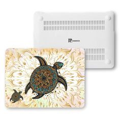 "Gold Turtle MacBook Skin Air 13"" Case,Tribal Turtle MacBook 13"" Pro,Boho On Matte White Plastic Hard Case Cover,Gold Blue MacBook Pro Retina"
