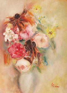 Margareta Sterian White Vases, Artist, Flowers, Expressionism, Poet, Romania, Israel, Paintings, Paint