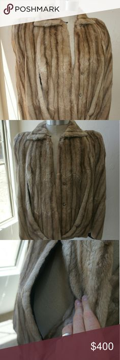 Vintage Mink cape Vintage mink cape.  Soft, no issues, blue interior.  Good condition for being 50+ years old.  No size available, but please ask for measurements if unsure.  I'd say a small since my grandmother was of petite nature. Jackets & Coats Capes