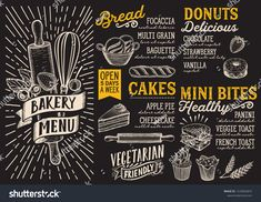 Bakery menu template for restaurant on a blackboard background vector illustration brochure for food and drink cafe. Design layout with vintage lettering and doodle hand-drawn graphic icons. Burger Menu, Pizza Menu, Bakery Menu, Bakery Cakes, Food Menu Design, Cafe Design, Steak Menu, Blackboard Menu, Japanese Menu