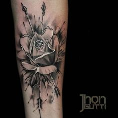 Awesome rose with arrows by Jhon Gutti #tattoos