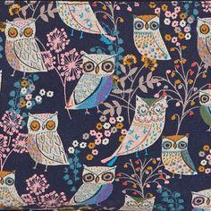 Conversational owl pattern on a dark ground #animal #bird #print