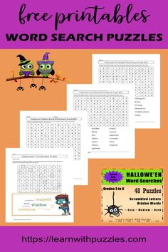 Visit here to check out the Halloween word searches on Learn With Puzzles! If you are looking for FREE printable word searches or Google Slides word search puzzles, then this collection is for you! Have fun with these word game printables for kids. You will love this extensive selection of printables and Google apps puzzles. Be sure to try out our scrambled letters and hidden words puzzles! #leannwithpuzzles #freeprintables #wordsearchpuzzles