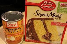 yellow cake pumpkin recipe   Box of yellow cake mix 15 oz can of pumpkin