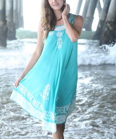 Another great find on #zulily! Green Floral Embroidered Batik Dress - Women #zulilyfinds