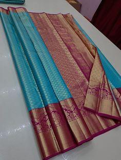 Silk Saree Kanchipuram, Organza Saree, Chiffon Saree, Indian Bridal Sarees, Wedding Silk Saree, Navy Blue Saree, Traditional Trends, Kurti Sleeves Design, Saree Tassels