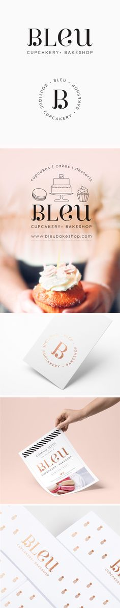 Bleu is a bakery based in Kailua-Kona, Hawaii who specialise in the creation of gourmet cupcakes, cakes and mini deserts. The owners of Bleu requested Inkee Press create a simplistically elegant logo (Simple Elegant Business Card) Brand Identity Design, Corporate Design, Branding Design, Cake Branding, Logo Branding, Lettering, Typography Design, Logo Patisserie, Kona Hawaii