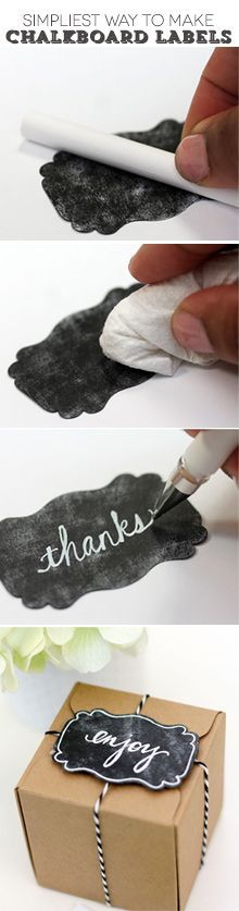 gift wrapping labels DIY: The Simplest Way to Make Chalkboard Labels Fun Crafts, Diy And Crafts, Paper Crafts, Summer Crafts, Craft Gifts, Diy Gifts, Diy Projects To Try, Craft Projects, School Projects
