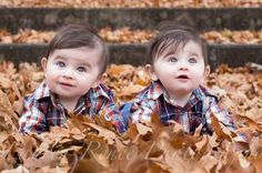 Play in the leaves: | 34 Incredibly Creative Twin Photography Ideas