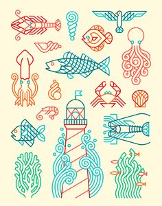 Consellería do Mar on Behance Fish Illustration, Graphic Design Illustration, Illustrations, Fish Stencil, Fish Graphic, Ligne Claire, Fish Patterns, Line Drawing, Line Art