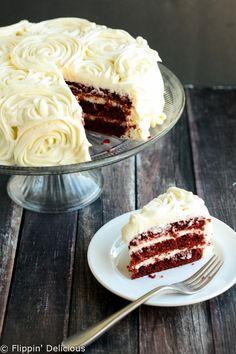 Gluten-Free Red Velvet Layer Cake with Cream Cheese Frosting | Easy layer cake with rose swirl tutorial.