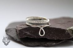 Handmade Hammered Five Skinny Sterling Silver Stacking Rings