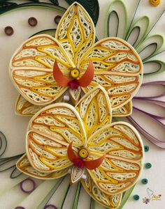 Quilled Yellow Orchids - by: neli
