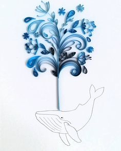 Whimsical Quilled Illustrations by Meloney Celliers - Whale Splash