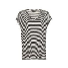 TopShop Stripe Side Split T-Shirt ($38) ❤ liked on Polyvore featuring tops, t-shirts, monochrome, striped tee, short sleeve tops, viscose tops, striped top and stripe t shirt