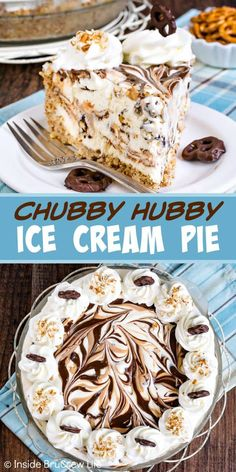 Chubby Hubby Ice Cream Pie Chubby Hubby Ice Cream Pie - swirls of hot fudge and peanut butter, creamy homemade ice cream, and a pretzel crust makes a delicious frozen treat. Make this easy recipe for hot summer days! Ice Cream Desserts, Köstliche Desserts, Frozen Desserts, Summer Desserts, Delicious Desserts, Dessert Recipes, Recipes Dinner, Frozen Pies, Frozen Treats