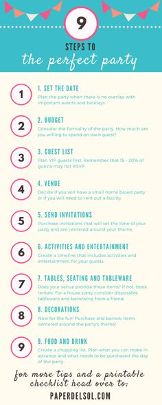 9 Steps to Planning the Perfect Party and Party Planning Checklist <br> Print this 9 step party planning checklist and use while you are planning your event. Plan the perfect party without feeling overwhelmed. Birthday Party Checklist, Party Planning Checklist, Event Planning Tips, Event Planning Business, Debut Checklist, Debut Planning, Disco Party, 80s Party, Debut Party