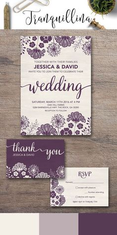 Purple Wedding Invitation Printable, Floral Wedding Invitation Suite, Modern Wedding Invitation, Rustic Wedding Invite, Printable Wedding Invitations. For more elegant wedding stationery, follow the link: http://tranquillina.etsy.com #weddinginvitations #purplewedding #weddinginvitationsmodern #rusticweddinginvitations