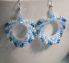 Mallard Blue White Peyote Earrings by PatchworkJewelry on Etsy