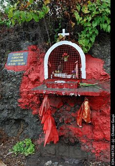 Wayside shrine dedicated to Saint Expedit, Reunion island, overseas departement of France, Indian Ocean.  Photographer: Christian Goupi.
