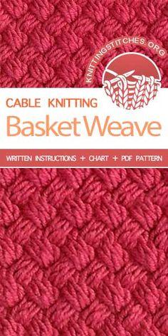 knitting stitches How To: Diagonal Basket Weave Stitch Knitting Stiches, Cable Knitting, Circular Knitting Needles, Knitting Charts, Crochet Stitches, Knitting Patterns, Free Knitting, Basket Weave Crochet, Knit Basket