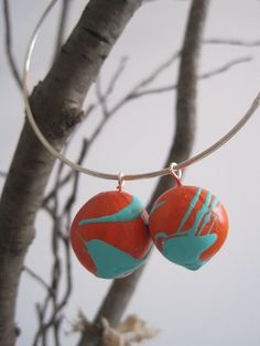 Tangerine and Aqua hand painted sculpted clay by sweetstellas, $35.00