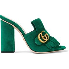 Gucci Marmont fringed suede mules ($585) ❤ liked on Polyvore featuring shoes, high heel mule shoes, green shoes, fringe shoes, gucci shoes and open toe shoes