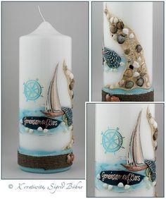Hochzeitskerze DW 528 maritim Segelboot Muscheln von  Kerzenkunst -  Kreatiwita auf DaWanda.com