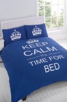 I found 'FULL NAVY BLUE KEEP CALM ITS TIME FOR BED COTTON REVERSIBLE COMFORTER COVER' on Wish, check it out!