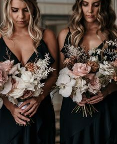 The white orchids, pink roses, and brown neutral tones coupled with the textured leaves are stunning for a modern bouquet. Fall Wedding Flowers, Bridal Flowers, Flower Bouquet Wedding, Boho Wedding, Floral Wedding, Wedding Colors, Dream Wedding, Black Bridesmaids, Black Bridesmaid Dresses