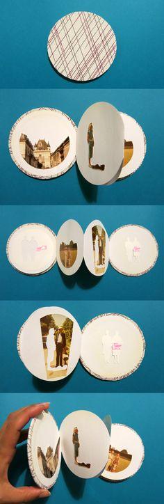 Encuadernación circular. Libro tipo acordeón. Libro de artista por Denise Carner Lorenzo. Realizado a partir de fotografías encontradas.