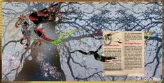 knight dragon, horse dragon flying over a large tree, fantasy, children illustration, red and black