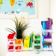 How satisfying is this rainbow storage creation from @themomlifeedit 🌈 Our @bigdug plastic bins are stackable and easy for little hands to access their things, without the mess! #rainbowstorage #kidsstorage #storage #storageideas #storagesolutions #kidsroomdecor #kidsofinstagram #kidsroom #toystorage #organised #declutter Kids Storage, Toy Storage, Storage Ideas, Plastic Bins, Kidsroom, Declutter, Storage Solutions, Rainbow, Hands