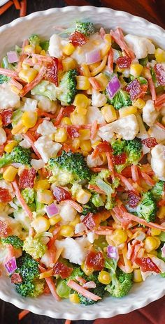 Creamy Broccoli Cauliflower Corn Bacon Salad with Sliced Carrots Diced Red Onions and shredded Sharp Cheddar Cheese. There are 2 salad dressing option. Low Carb Broccoli Salad, Best Broccoli Salad Recipe, Salad Recipes With Bacon, Broccoli Cauliflower Salad, Bacon Salad, Broccoli Recipes, Keto Cauliflower, Clean Eating Vegetarian, Vegetarian Cabbage