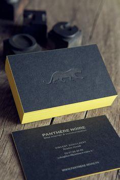Cartes de visite impression ton sur ton et argent sur papier noir // letterpress business card in tonal on ebony black colorplan paper / design Panthère Noire