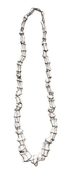 Manon van Kouswijk. Necklace: Trophée no 6, 2012. Porcelain, thread. Length of the necklace:430 mm, diameter of the seg.