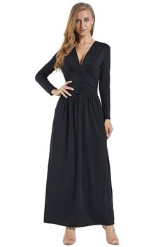 Trendy Black Vintage Inspired V-neck Long Sleeve Maxi Dress – kaliyy Cheap Maxi Dresses, Cheap Dresses Online, Casual Dresses, Midi Dresses, Fashion Dresses, Long Sleeve Maxi, Maxi Dress With Sleeves, Sleeved Dress, V Model