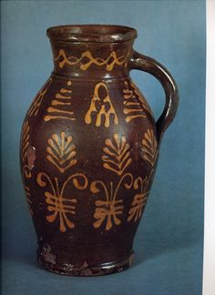 19thC English slipware jug Antique Stoneware, Earthenware, Glazes For Pottery, Ceramic Pottery, Porcelain Ceramics, Ceramic Jugs, Mugs And Jugs, Old Crocks, Face Jugs