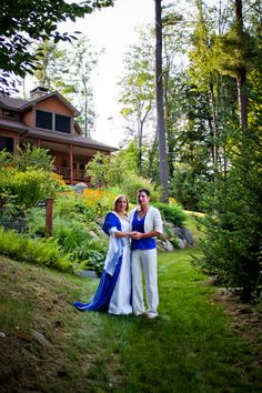 Lesbian wedding after 24 years. Non-white dress, pants, brides over 40, pagan. <3
