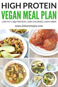 High Protein Vegan Meal Plan calories) a high protein vegan meal plan for a plant based diet. up to of protein per day from plants! this meal plan contains 2200 calories, is high in fiber, antioxidants, protein, minerals and more. Low fat and lo High Protein Diet Plan, High Protein Vegan Recipes, Diet Recipes, Healthy Recipes, Smoothie Recipes, Healthy Protein, Plant Protein, Low Fat Vegetarian Recipes, Soup Recipes